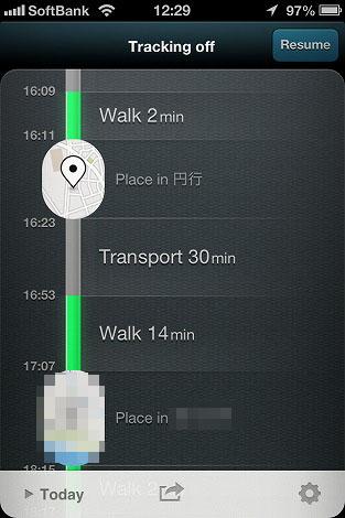 Movesアプリ 行動記録